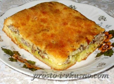 рецепт заливного пирога с картошкой и консервой