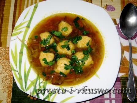 Грибной суп с сырными клецками