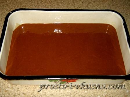 Выливаем в форму тесто с какао