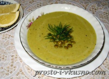 Суп-пюре из зеленого горошка со сливками