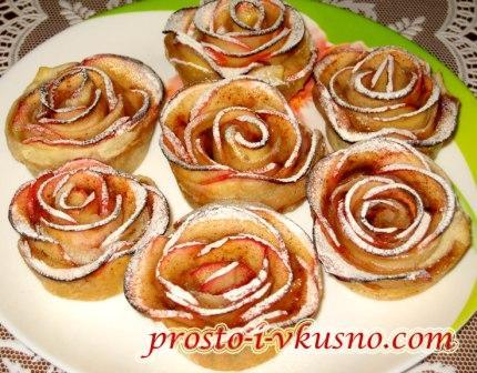 Розы из слоеного теста с яблоками рецепт пошаговый
