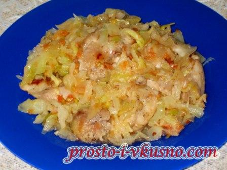 Капуста с курицей тушеная в духовке рецепт пошагово