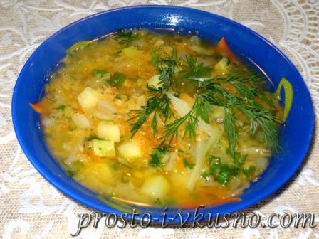 Легкий овощной суп с красной чечевицей