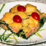Форель, запеченная со шпинатом, рисом и сыром 01