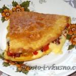 1Омлет с начинкой из овощей и сыра