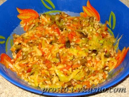 Начинка с овощами, рисом и грибами