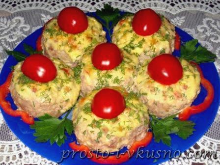 Вкусные мясные гнезда с начинкой из брынзы