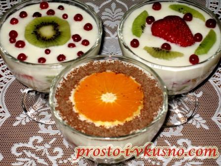 Десерт из фруктов и сметаны