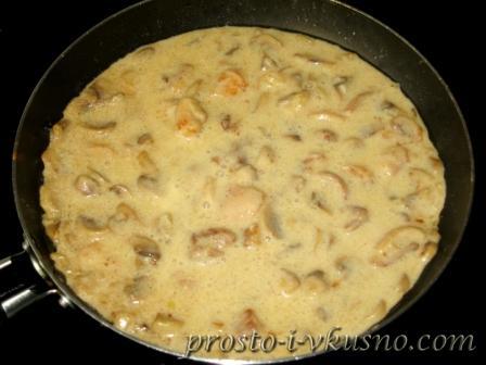 Готовый соус с курицей и грибами