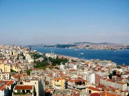 Вид на Босфор и виднеющуюся за ним азиатскую часть Стамбула
